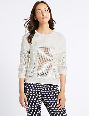 Pure Cotton Textured 3/4 Sleeve Jumper