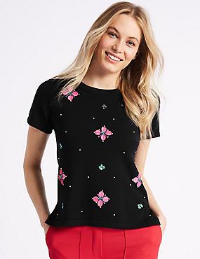 Floral Embellished Short Sleeve Top, NAVY, catlanding