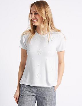 Floral Embellished Short Sleeve Top, SOFT WHITE, catlanding