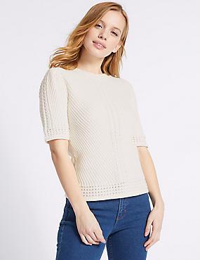 PETITE Pure Cotton Textured Jumper