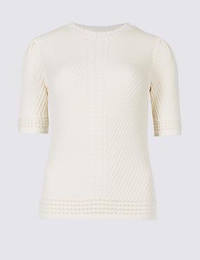 PETITE Pure Cotton Textured Jumper , CREAM, catlanding