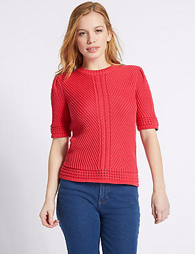 PETITE Pure Cotton Textured Jumper , LIPSTICK, catlanding