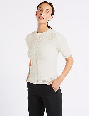 Pure Cotton Textured Round Neck Jumper , CREAM, catlanding