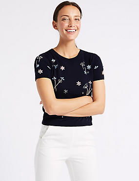Embellished Round Neck Short Sleeve Jumper , NAVY, catlanding