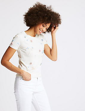 Embellished Round Neck Short Sleeve Jumper , SOFT WHITE, catlanding