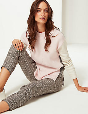 Colour Block Round Neck Jumper  , PINK MIX, catlanding