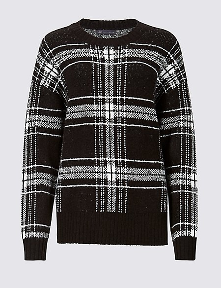 Checked Relaxed Round Neck Jumper