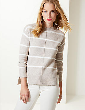 Striped Round Neck Jumper, MOLE MIX, catlanding