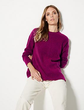 Relaxed Supersoft Round Neck Jumper , MAGENTA, catlanding