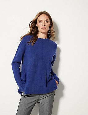 Relaxed Supersoft Round Neck Jumper , ULTRAVIOLET, catlanding