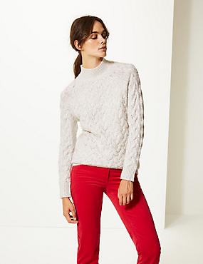 Cable Funnel Neck Longline Jumper