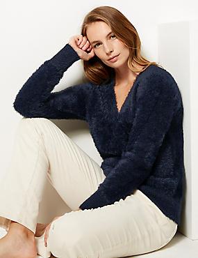Faux Fur Yarn V-Neck Jumper, NAVY, catlanding