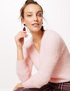 Faux Fur Yarn V-Neck Jumper, PALE PINK, catlanding