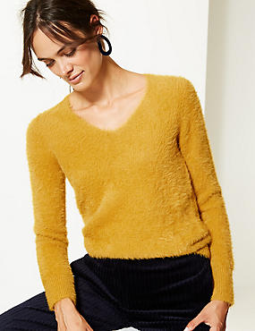 Fur Yarn V-Neck Jumper