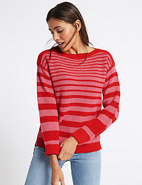 Pure Cotton Striped Slash Neck Jumper , RED MIX, catlanding
