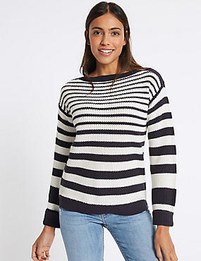 Pure Cotton Striped Slash Neck Jumper , NAVY MIX, catlanding
