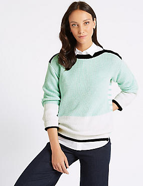 Pure Cotton Colour Block Slash Neck Jumper , BLUE MIX, catlanding