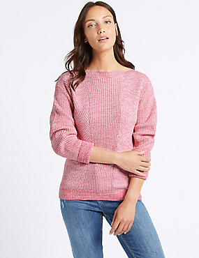 Pure Cotton Cable Knit Slash Neck Jumper
