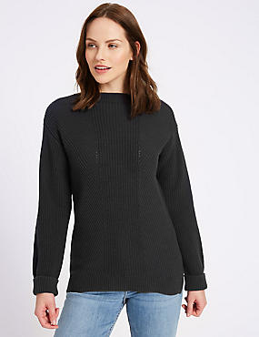 Pure Cotton Cable Knit Slash Neck Jumper, NAVY, catlanding