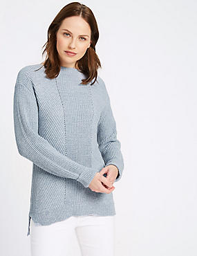 Pure Cotton Cable Knit Slash Neck Jumper, CHAMBRAY, catlanding