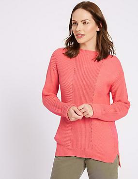 Pure Cotton Cable Knit Slash Neck Jumper