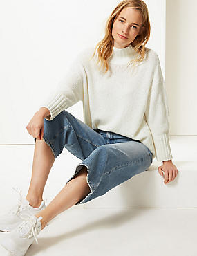 Cotton Rich Textured Jumper , CREAM, catlanding
