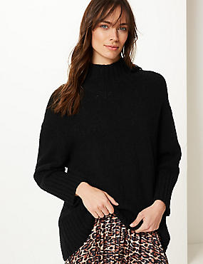 Cotton Rich Textured Jumper , BLACK, catlanding