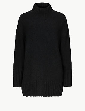 Cotton Rich Textured Jumper , BLACK, catlanding