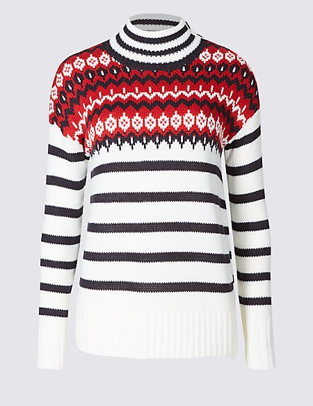 Fairisle Print Striped Turtle Neck Jumper