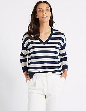 Pure Merino Wool Striped V-Neck Jumper , NAVY MIX, catlanding