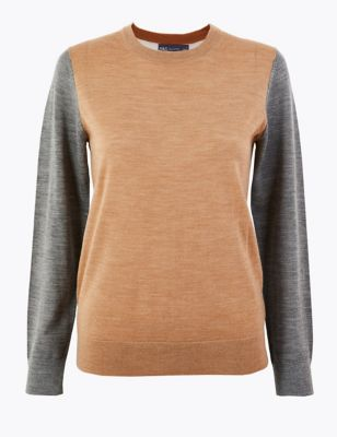 Pure Merino Wool Colour Block Jumper by Marks & Spencer