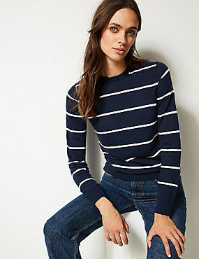 Pure Merino Wool Striped Round Neck Jumper , NAVY MIX, catlanding