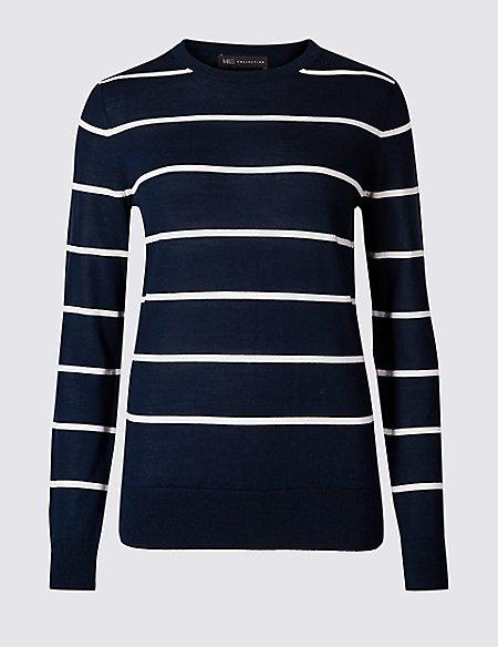 Pure Merino Wool Striped Round Neck Jumper