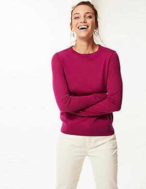 Pure Merino Wool Round Neck Jumper, MAGENTA, catlanding