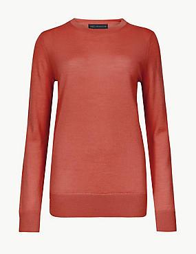 Pure Merino Wool Round Neck Jumper, TERRACOTTA, catlanding