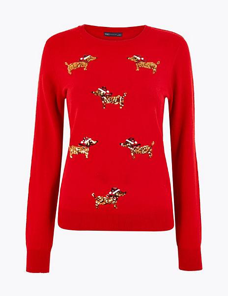 Embellished Dog Christmas Jumper