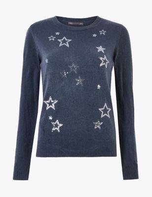 Sequin Star Design Christmas Jumper by Marks & Spencer