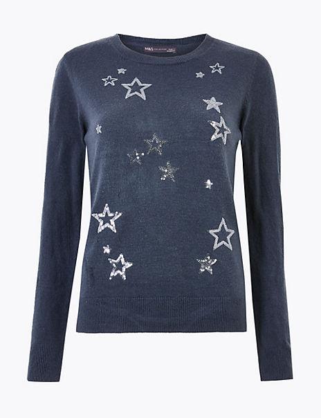 Sequin Star Design Christmas Jumper