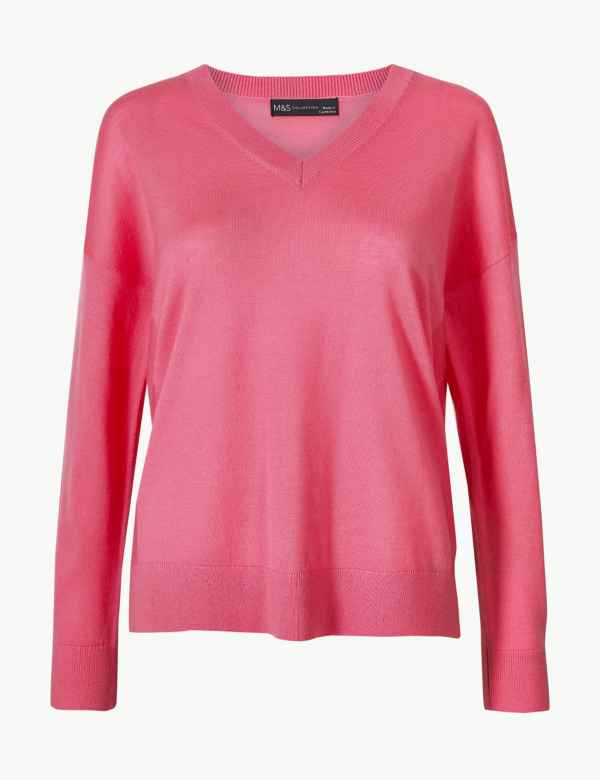 a07a15173d3 Pure Merino Wool Relaxed Fit V-Neck Jumper