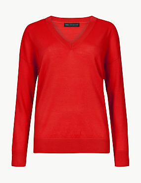 Pure Merino Wool V-Neck Long Sleeve Jumper, BRIGHT RED, catlanding