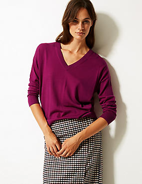 Pure Merino Wool V-Neck Long Sleeve Jumper, MAGENTA, catlanding