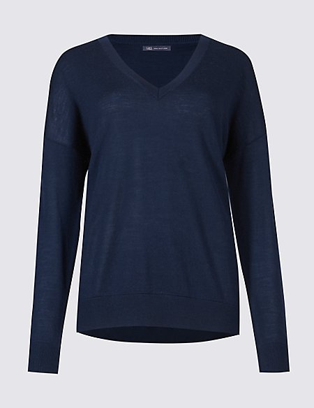 Pure Merino Wool Relaxed Fit V-Neck Jumper