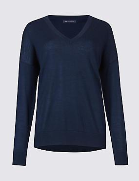 Pure Merino Wool V-Neck Long Sleeve Jumper, NAVY, catlanding