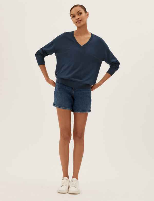 f07242f25ec Pure Merino Wool Relaxed Fit V-Neck Jumper. M S Collection