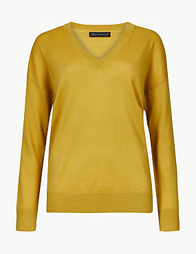 Pure Merino Wool V-Neck Long Sleeve Jumper, HONEY, catlanding