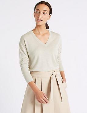 Pure Merino Wool V-Neck Long Sleeve Jumper, OATMEAL MIX, catlanding