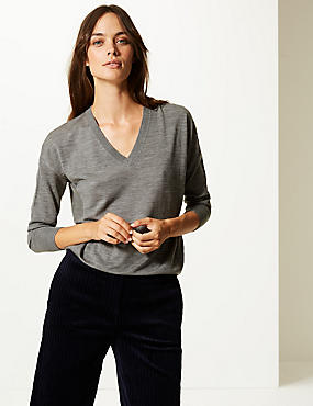 Pure Merino Wool V-Neck Long Sleeve Jumper, MID GREY MARL, catlanding