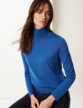 Pure Merino Wool Roll Neck Jumper  , AZURE BLUE, catlanding