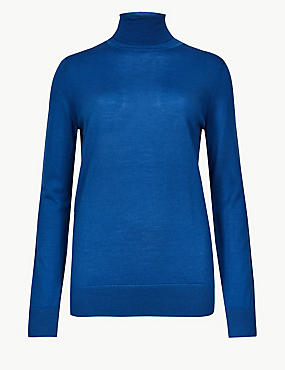Pure Merino Wool Roll Neck Jumper  , AZURE BLUE, catlanding