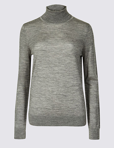 Pure Merino Wool Roll Neck Jumper